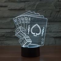 Nacht LED-Licht neben 3D-Lampe, ABS Kunststoff, mit Acryl, Spielkarte, automatisch die Farbe wechseln & verschiedene Stile für Wahl, 155x87x202mm, verkauft von setzen