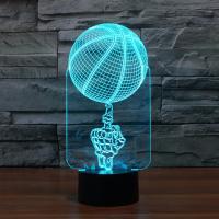 Nacht LED-Licht neben 3D-Lampe, ABS Kunststoff, mit Acryl, BasketballKorbball, automatisch die Farbe wechseln & verschiedene Stile für Wahl, 120x87x251mm, verkauft von setzen