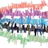 Natürlicher Quarz Perlen Schmuck, plattiert, keine, 2-7x16-30x2-7mm, Bohrung:ca. 0.7mm, ca. 58PCs/Strang, verkauft per ca. 8 ZollInch Strang