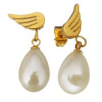 Edelstahl Tropfen Ohrring, mit Glasperlen, goldfarben plattiert, für Frau, 26mm, 10x18mm, verkauft von Paar