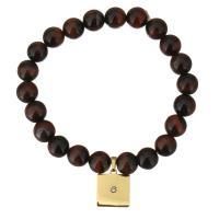 Natürliche Tiger Eye Armband, Tigerauge, mit Edelstahl, Rechteck, goldfarben plattiert, Armband  Bettelarmband & für Frau & mit Strass, 12x14mm, 8mm, verkauft per ca. 7 ZollInch Strang