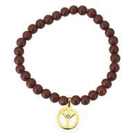 Natürliche Goldstone -Armband, Goldsand, mit Edelstahl, Frieden Logo, goldfarben plattiert, Armband  Bettelarmband & für Frau & mit Strass, 14x16mm, 7mm, verkauft per ca. 7 ZollInch Strang