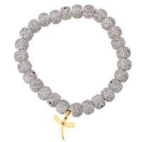 Harz Armband, mit Edelstahl, Libelle, goldfarben plattiert, Armband  Bettelarmband & für Frau & mit Strass, 14x14mm, 7x9mm, verkauft per ca. 7 ZollInch Strang