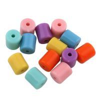 Volltonfarbe Acryl Perlen, Zylinder, gemischte Farben, 9x7.50x7.50mm, Bohrung:ca. 0.5mm, ca. 1100PCs/Tasche, verkauft von Tasche