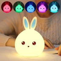 Nachtlampe, ABS Kunststoff, mit Silikon, Hase, automatisch die Farbe wechseln & verschiedene Stile für Wahl & verschiedene Muster für Wahl, 120x163mm, verkauft von PC