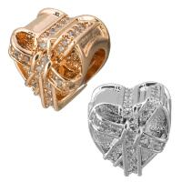 Messing European Perlen, Herz, plattiert, Micro pave Zirkonia & ohne troll, keine, 11x11x9mm, Bohrung:ca. 4.5mm, 10PCs/Menge, verkauft von Menge