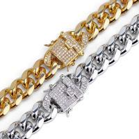 Messingkette Halskette, Messing, plattiert, unterschiedliche Länge der Wahl & Kandare Kette & Micro pave Zirkonia & für den Menschen, keine, 12mm, verkauft von Strang
