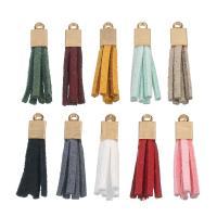 Baumwollsamt Anhänger, mit Zinklegierung Stiftöse, QuasteTroddel, goldfarben plattiert, keine, 10x27mm, Bohrung:ca. 2-3mm, 10PCs/Tasche, verkauft von Tasche