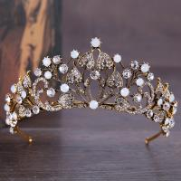 Zinklegierung Tiaras, mit Kristall, Krone, antike Bronzefarbe plattiert, für Braut & facettierte & mit Strass, frei von Blei & Kadmium, 65mm, verkauft von PC