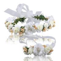 Seidenspinnerei Haarkranz, mit ABS-Kunststoff-Perlen & PE Schaumstoff, Blume, handgemacht, für Frau, 60x500mm, verkauft von PC
