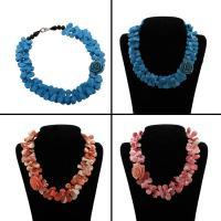 Mode Halskette, gemischte Materialien, mit Kristall, Messing Karabinerverschluss, Tropfen, verschiedenen Materialien für die Wahl & für Frau & facettierte, 31x32x17mm, verkauft per ca. 19.5 ZollInch Strang