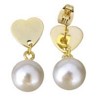 Edelstahl Tropfen Ohrring, mit Glasperlen, Herz, goldfarben plattiert, für Frau, 24mm, 10x13mm, 6PaarePärchen/Menge, verkauft von Menge