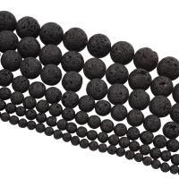Natürliche Lava Perlen, rund, verschiedene Größen vorhanden, schwarz, Bohrung:ca. 1mm, Länge:ca. 15 ZollInch, 10SträngeStrang/Tasche, verkauft von Tasche