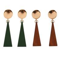 Holz Ohrring, Zinklegierung, mit Holz, Edelstahl Stecker, Dreieck, goldfarben plattiert, für Frau, keine, frei von Blei & Kadmium, 13x60mm, verkauft von Paar