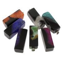 Spitze Achat Anhänger, Streifen Achat, mit Messing Stiftöse, Rechteck, gemischte Farben, 16x44x16mm, Bohrung:ca. 4x6mm, 5PCs/Tasche, verkauft von Tasche