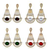 Edelstein Ohrringe, Zinklegierung, mit Glas Edelstein, goldfarben plattiert, für Frau & facettierte & mit Strass, keine, 28x55mm, verkauft von Paar