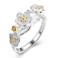 comeon® Finger-Ring, 925 Sterling Silber, Blume, plattiert, einstellbar & für Frau, Größe:8, verkauft von PC