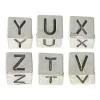 Zink Legierung Europa Alphabet Perlen, Zinklegierung, Würfel, antik silberfarben plattiert, verschiedene Muster für Wahl & mit Brief Muster, frei von Nickel, Blei & Kadmium, 7x7x7mm, Bohrung:ca. 5mm, 100PCs/Menge, verkauft von Menge