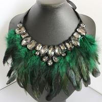 Kristall Halskette, Feder, mit Nylon & Glas Edelstein, für Frau & facettierte, keine, verkauft per ca. 39 ZollInch Strang
