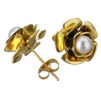 Edelstahl Ohrstecker, mit Glasperlen, Blume, goldfarben plattiert, für Frau, 13mm, 12PaarePärchen/Menge, verkauft von Menge