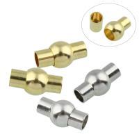 Messing Magnetverschluss, mit Magnetische Hämatit, plattiert, Einzelstrang, keine, frei von Nickel, Blei & Kadmium, 17x9mm, Bohrung:ca. 4.5mm, 10PCs/Tasche, verkauft von Tasche