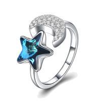 comeon® Finger-Ring, 925 Sterling Silber, mit CRYSTALLIZED™, Mond und Sterne, platiniert, einstellbar & Micro pave Zirkonia & für Frau, 11mm, Größe:8, verkauft von PC
