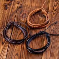 Kuhhaut Armband, mit Gewachsten Baumwollkordel & PU Schnur, unisex & einstellbar & Multi-Strang, keine, Länge:7-11 ZollInch, 10SträngeStrang/Menge, verkauft von Menge