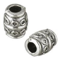 Zinklegierung Perlen Einstellung, Zylinder, antik silberfarben plattiert, frei von Nickel, Blei & Kadmium, 7x9x7mm, Bohrung:ca. 3mm, Innendurchmesser:ca. 1mm, 100PCs/Menge, verkauft von Menge