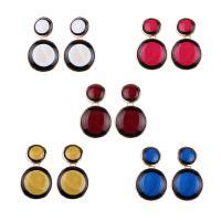 Zinklegierung Tropfen Ohrring, mit Porzellan, rund, für Frau & Epoxy Aufkleber, keine, frei von Nickel, Blei & Kadmium, 35x55mm, verkauft von Paar