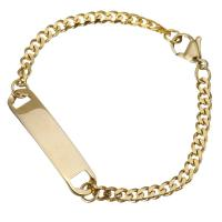 Edelstahl Armband, goldfarben plattiert, für Kinder & Kandare Kette, 33x7mm, 3.5mm, verkauft per ca. 7 ZollInch Strang