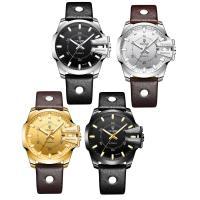 TEVISE® Uhrenkollektion, Kuhhaut, mit Zinklegierung Zifferblatt & Glas & Edelstahl, plattiert, stem-Winder & einstellbar & für den Menschen & wasserdicht & glänzend, keine, 46x16mm, Länge:ca. 7.8 ZollInch, verkauft von PC