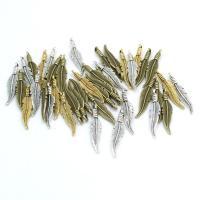 Zink-Legierungs-Armband-Entdeckungen, Zinklegierung, Federn, plattiert, keine, frei von Nickel, Blei & Kadmium, 7x32mm, 100PCs/Tasche, verkauft von Tasche