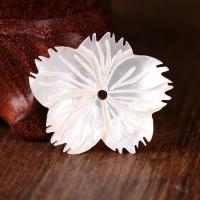 Natürliche weiße Muschelperlen, Blume, 31x2x28mm, Bohrung:ca. 2mm, verkauft von PC