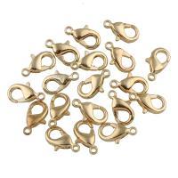 Eisernen Karabinerverschluss, Eisen, goldfarben plattiert, Einzelstrang, frei von Blei & Kadmium, 7x12x3mm, Bohrung:ca. 1mm, 100PCs/Menge, verkauft von Menge