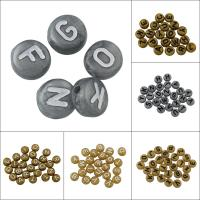 Alphabet Acryl Perlen, flache Runde, gemischtes Muster, keine, 7x4mm, Bohrung:ca. 1mm, ca. 3650PCs/Tasche, verkauft von Tasche