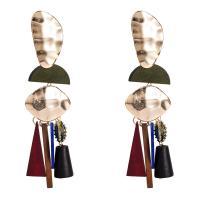 Zinklegierung Tropfen Ohrring, mit Planke & Holz, plattiert, mehrschichtig & für Frau, frei von Nickel, Blei & Kadmium, 34x117mm, verkauft von Paar