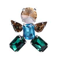 Zinklegierung Brosche, mit Kristall, silberfarben plattiert, für Frau & facettierte, 34x39mm, verkauft von PC
