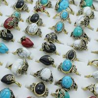 Zinklegierung Fingerring, mit Edelstein, antike Goldfarbe plattiert, für Frau & mit Strass & gemischt, frei von Blei & Kadmium, 21x27x11mm-22x29x18mm, Größe:6.5-11, 100PCs/Box, verkauft von Box