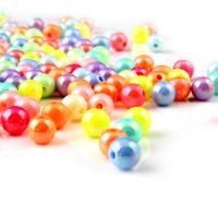 ABS-Kunststoff-Perlen, rund, Volltonfarbe, gemischte Farben, 6mm, Bohrung:ca. 1mm, 100PCs/Tasche, verkauft von Tasche