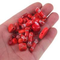 Gemischte Acrylperlen, Acryl, Silberdruck, rot, 8-30mm, Bohrung:ca. 1mm, 100G/Tasche, verkauft von Tasche