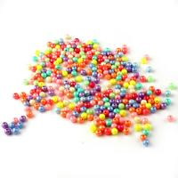 ABS-Kunststoff-Perlen, rund, gemischte Farben, 8mm, Bohrung:ca. 1mm, 100PCs/Tasche, verkauft von Tasche