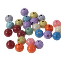 Acryl Schmuck Perlen, rund, imitierter Türkis, gemischte Farben, 10mm, Bohrung:ca. 1mm, 50PCs/Tasche, verkauft von Tasche