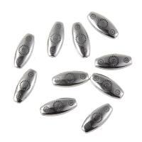 Verkupfertes Kunststoff-Perlen, Verkupferter Kunststoff, flachoval, antik silberfarben plattiert, 21x10mm, Bohrung:ca. 1mm, 100PCs/Tasche, verkauft von Tasche