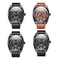 RISTOS® Uhrenkollektion, PU Leder, mit Glas & Edelstahl, schwärzen, einstellbar & für den Menschen, keine, 45.5x13mm, Länge:ca. 10 ZollInch, verkauft von PC
