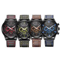 RISTOS® Uhrenkollektion, PU Leder, mit Glas & Edelstahl, schwärzen, einstellbar & für den Menschen & glänzend, keine, 45x12mm, Länge:ca. 10 ZollInch, verkauft von PC