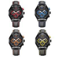 RISTOS® Uhrenkollektion, PU Leder, mit Glas & Edelstahl, schwärzen, einstellbar & für den Menschen, keine, 45x12mm, Länge:ca. 10 ZollInch, verkauft von PC
