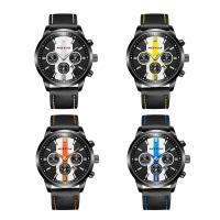RISTOS® Uhrenkollektion, PU Leder, mit Glas & Edelstahl, schwärzen, einstellbar & für den Menschen, keine, 45x15mm, Länge:ca. 10 ZollInch, verkauft von PC