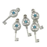 Zinklegierung Schlüssel Anhänger, Platinfarbe platiniert, mit Strass, frei von Blei & Kadmium, 11.50x35x5mm, Bohrung:ca. 2.5mm, 10PCs/Tasche, verkauft von Tasche