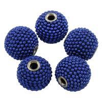 Eisen Schmuckperlen , mit ABS Kunststoff, rund, Platinfarbe platiniert, frei von Blei & Kadmium, 15x16mm, Bohrung:ca. 3mm, verkauft von PC