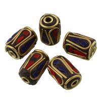 Indonesien Perlen, Zinklegierung, mit Indonesien, antike Bronzefarbe plattiert, für Frau, frei von Blei & Kadmium, 9.5X13mm, Bohrung:ca. 2mm, verkauft von PC